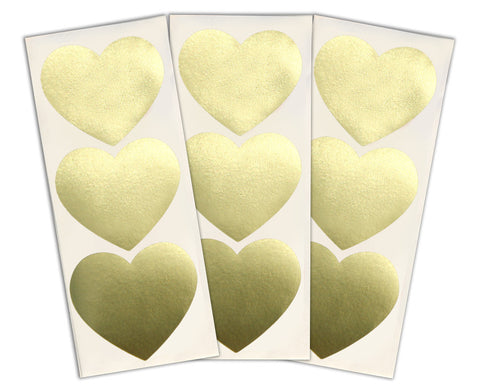 Large Heart Stickers 30 ct. - Gold