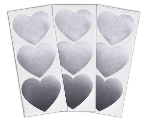 Large Heart Stickers 30 ct. - Silver