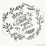 "Hand Drawn ""Thank you"" with vector floral elements"