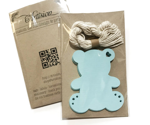 Teddy Bear Shape BLUE Tags - 12 ct