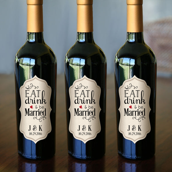 """Eat Drink And Be Married Wine Labels Wedding Wine Labels: Personalized Bottle Labels 2.5"""" X 5"""" 24-pack"""