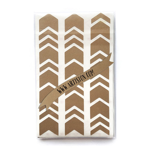 Chevron Geometric Stickers - Kraft Paper