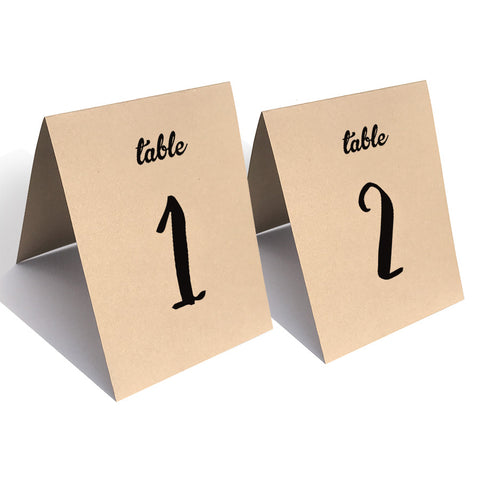Folded Table Numbers