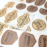 """Handmade in the USA"" stickers, vintage style - 21-pk"