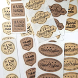 """Handmade in the USA"" self-adhesive labels, vintage style - 21-pk"