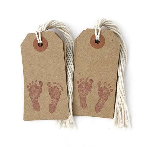 Baby Shower Kraft Tags w/ String - Footprints - 12-pk