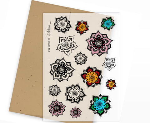 Clear Planner Stickers - Lotus Flowers
