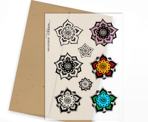 Clear Planner Stickers - Lotus Flower