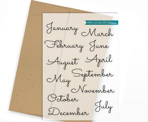 Clear Planner Stickers - Months of the Year - Cursive Handwriting