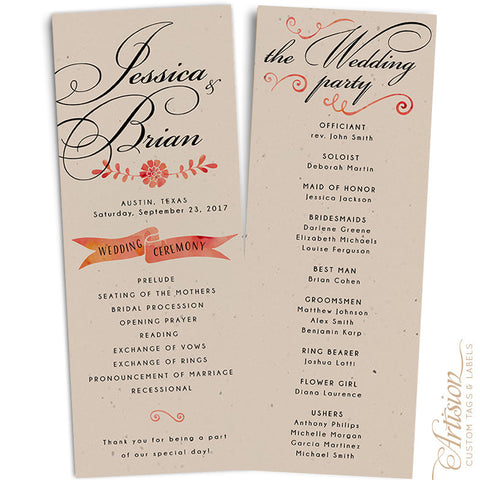 Wedding Programs 4 25 X 11 Driftwood Artision