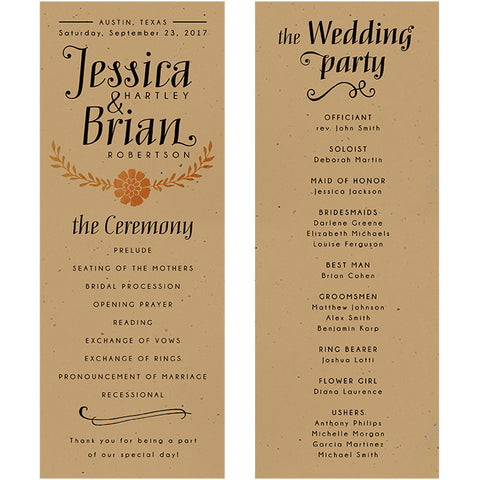 wedding programs 4 25 x 11 brown kraft artision