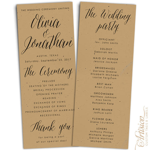 "Wedding Programs 4.25"" x 11"" Kraft"