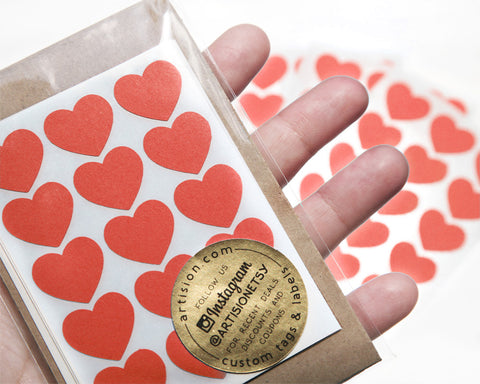 Mini Heart Stickers 90 ct. - Red