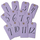 Lavender Purple Table Numbers Tags - Handletered