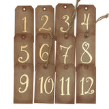 Handlettered Aged Gold Table Numbers