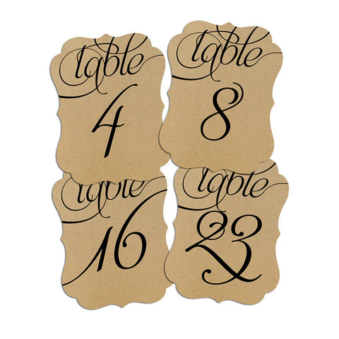 Bracket Shape Table Numbers