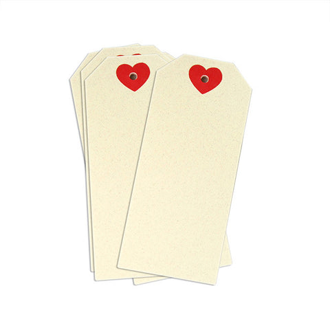 Cream Gift Tags With Red Hearts 12-pk