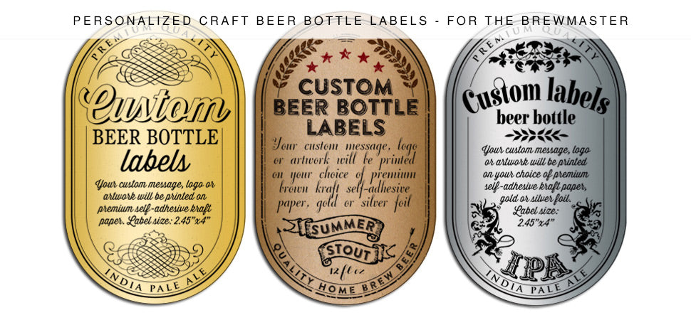 "Pre-designed, personalized, or custom printed beer labels made with easy to apply ""peel-and stick"" pressure sensitive adhesive"