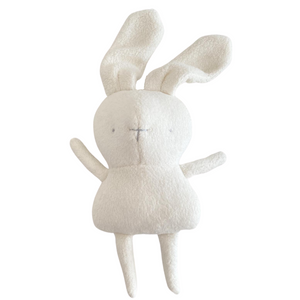 Handmade bunny stuffy made with natural fabrics in a minimalist style and hand-stitched facial features. Made in Canada.
