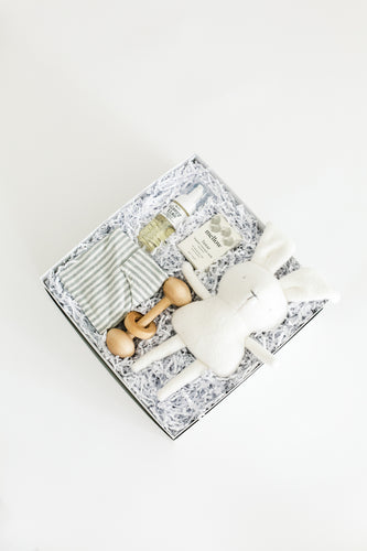 Top view of photo of Bebé gift box on a white background, including foam wash, unscented soap, wooden rattle toy, grey and ivory striped romper, and stuffed bunny toy.
