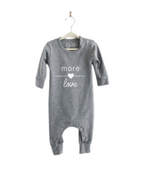 Load image into Gallery viewer, Long-sleeved cotton baby romper with button snaps at shoulder and bottom for easy clothing changes. Designed and printed in Toronto.
