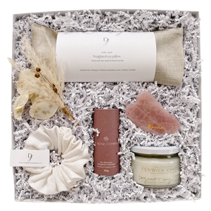 Spoil mom with our LUXE gift box and show appreciation for all she does. Includes a linen eye pillow filled with flax and lavender, linen scrunchie, natural dry shampoo, guasha facial massager, and a coconut wax candle. Available at Lex & Lennon Gifts.