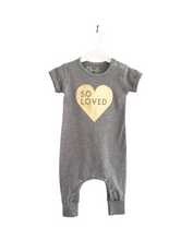 Load image into Gallery viewer, Short-sleeved cotton baby romper with button snaps at shoulder and bottom for easy clothing changes. Designed and printed in Toronto.