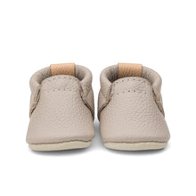 Load image into Gallery viewer, Photo of leather baby shoes in a muted brown with mauve undertones.