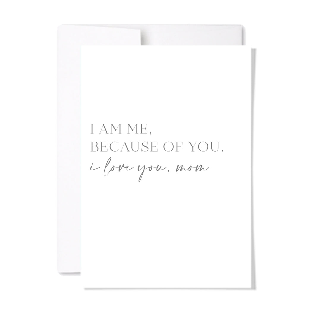 Mother's day cards available individually or upgrade from our branded gift tag for any gift. Minimal and modern, tell mom how you feel with  our BECAUSE OF YOU card at www.lexandlennon.ca