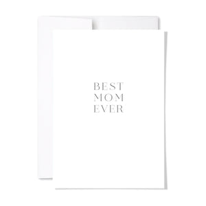 Mother's day cards available individually or upgrade from our branded gift tag for any gift. Minimal and modern, tell mom how you feel with our BEST MOM EVER card at www.lexandlennon.ca