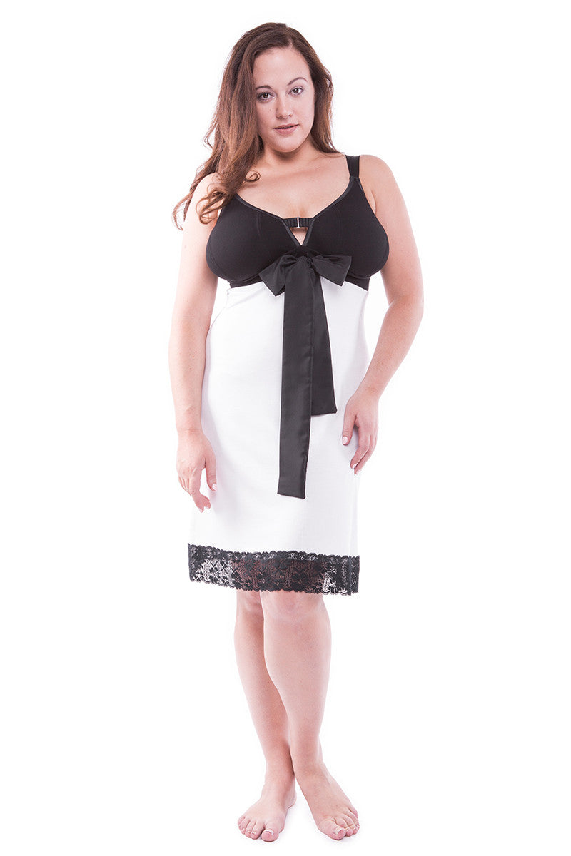 MY_CUP_RUNNETH_OVERStraight-laced A-line Night Dress Ice White