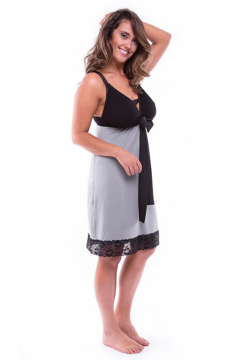 MY_CUP_RUNNETH_OVERStraight-laced A-line Night Dress Smoke