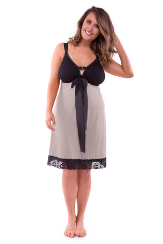 Straight-laced A-line Night Dress Oyster