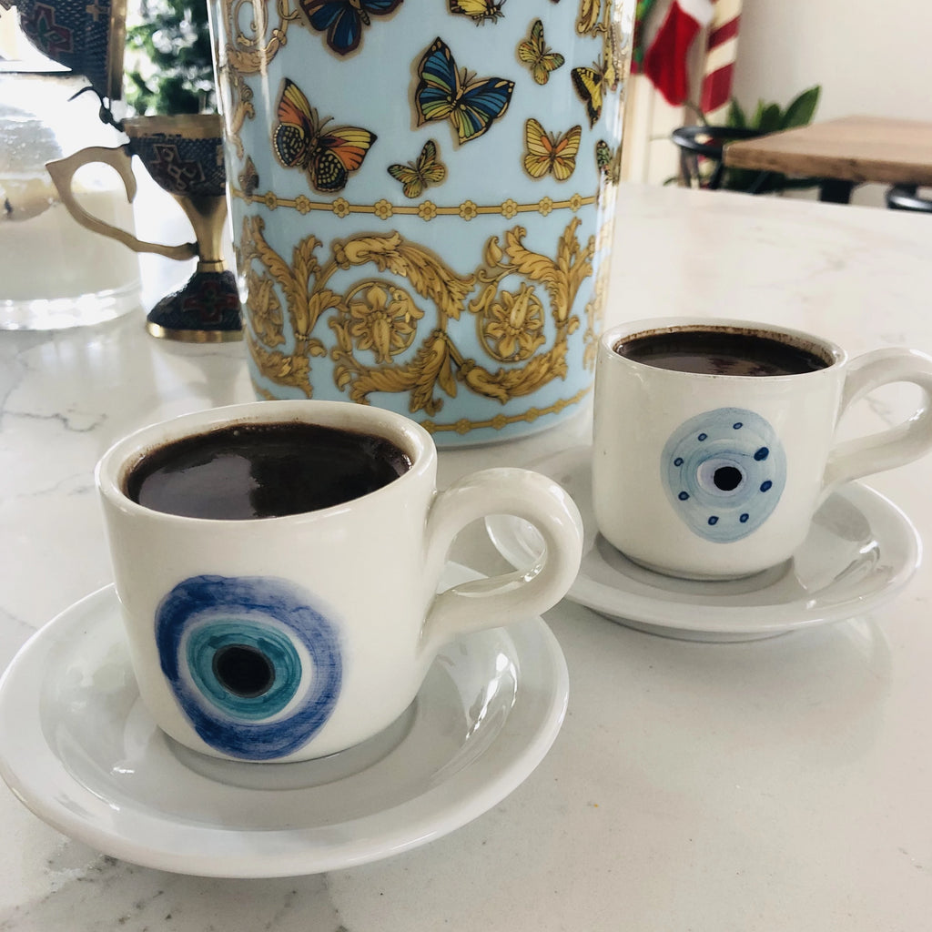 Eye Greek coffee cup