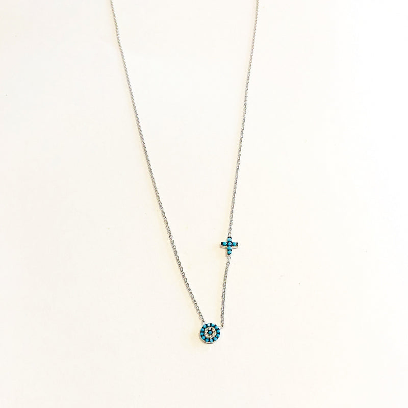 Small Turquoise Eye and Cross Necklace - Silver