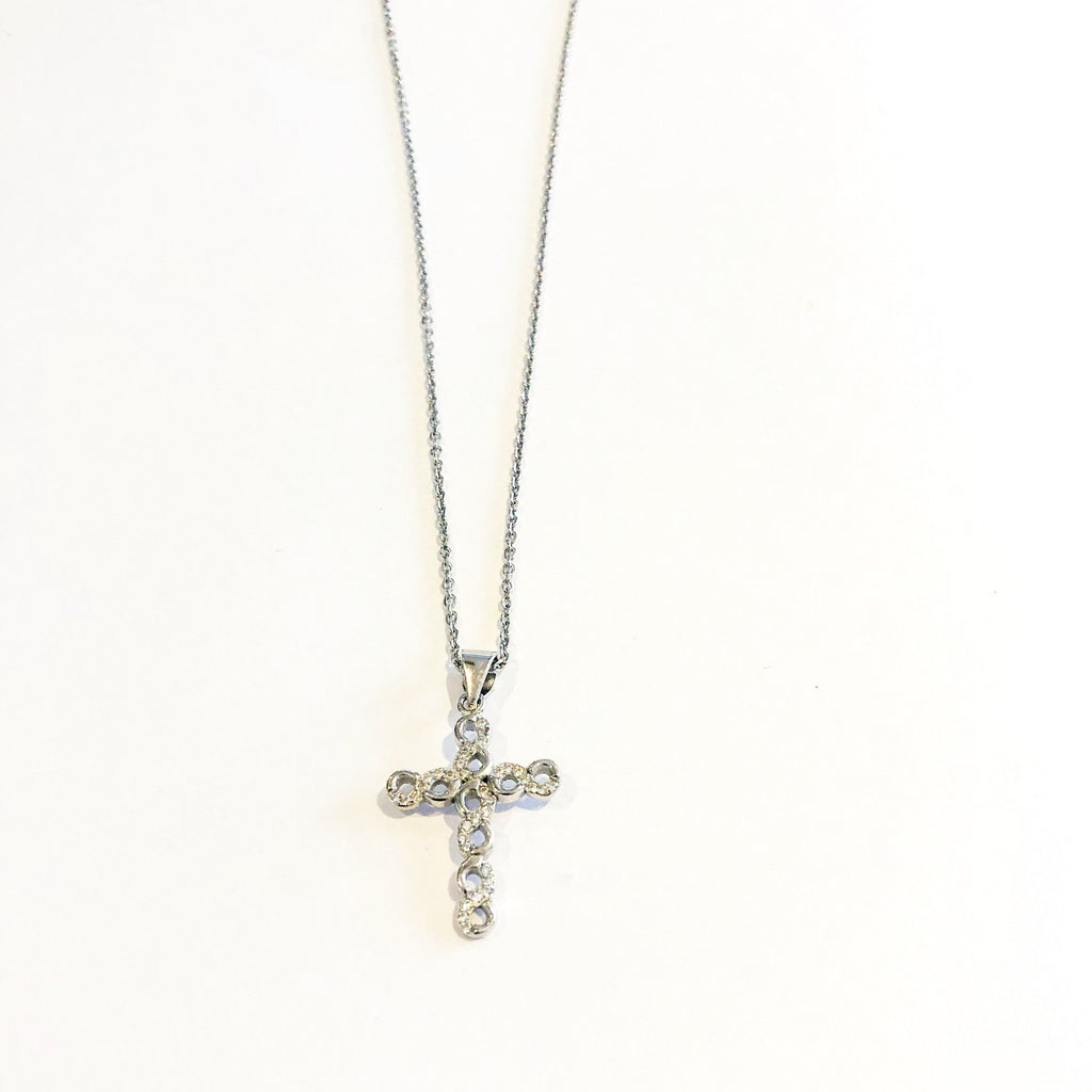 Linked Cross Necklace - Silver