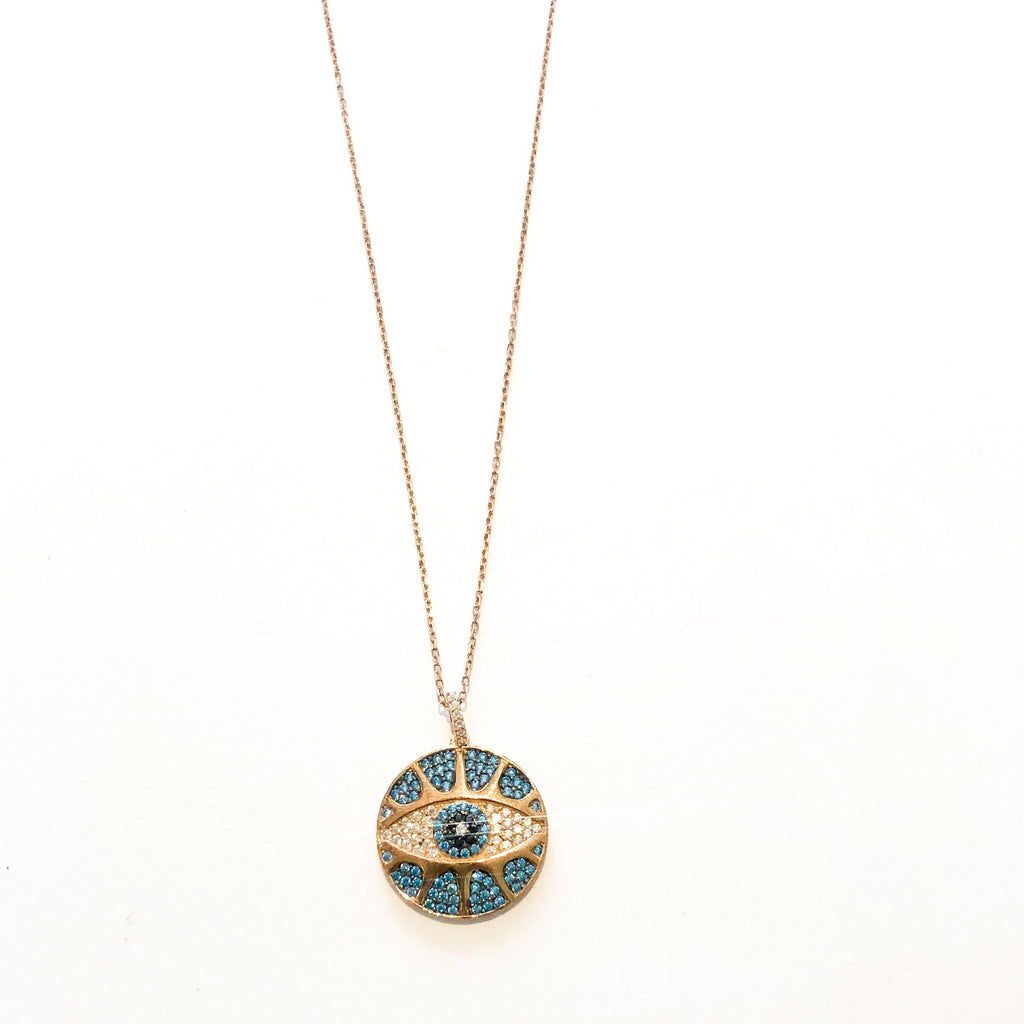 I'm Watching You Eye Necklace Turquoise  / Rose Gold