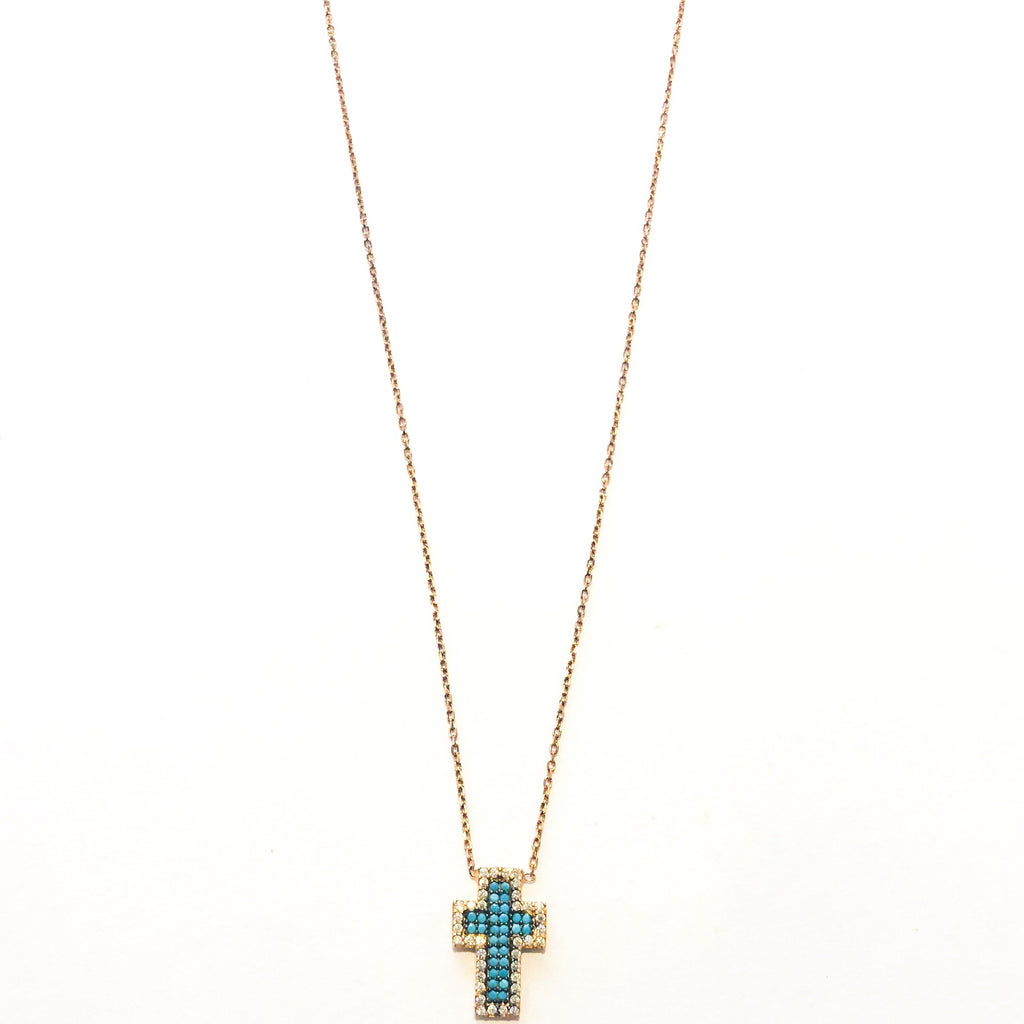 Cross Necklace - Turquoise / Rose Gold