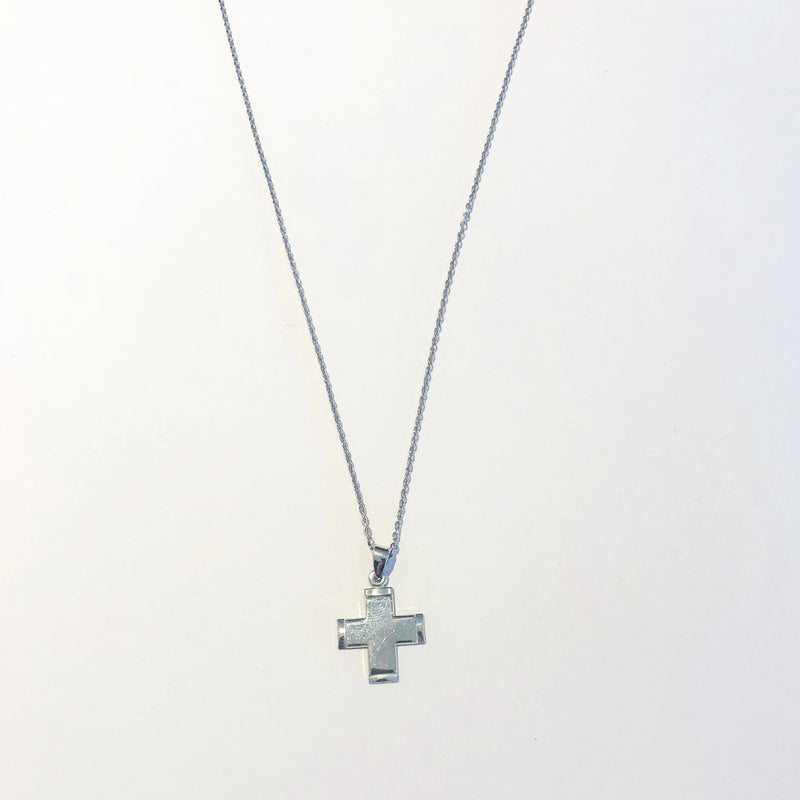 Flat Cross Necklace - Silver