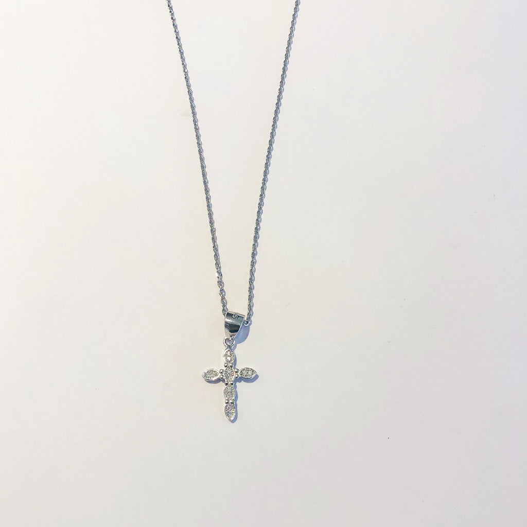 Diamonte Cross Necklace - Silver