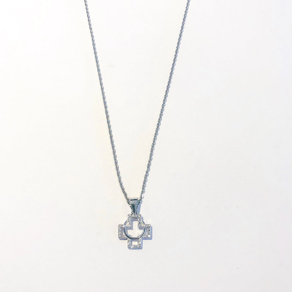 Circle Cross Necklace - Silver