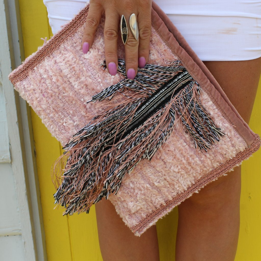 Dusty Pink Feather Clutch