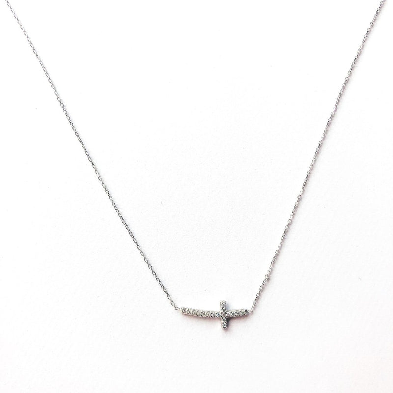 Side Silver Cross Necklace