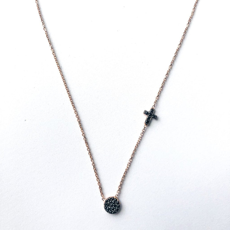 Small Eye and Cross Necklace - Black