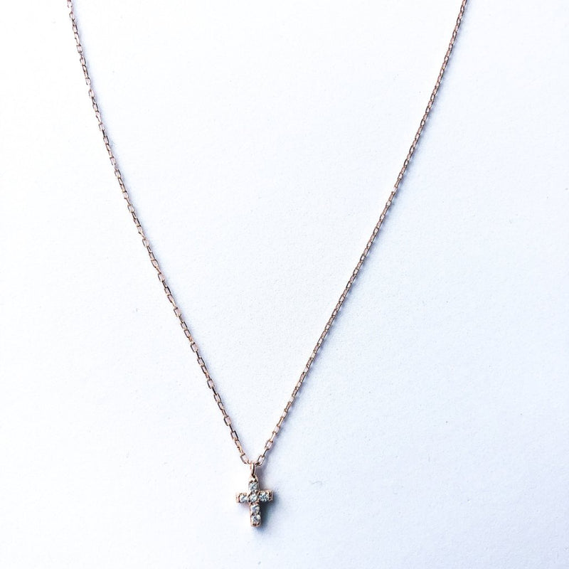 Small Cross Necklace - Rose Gold