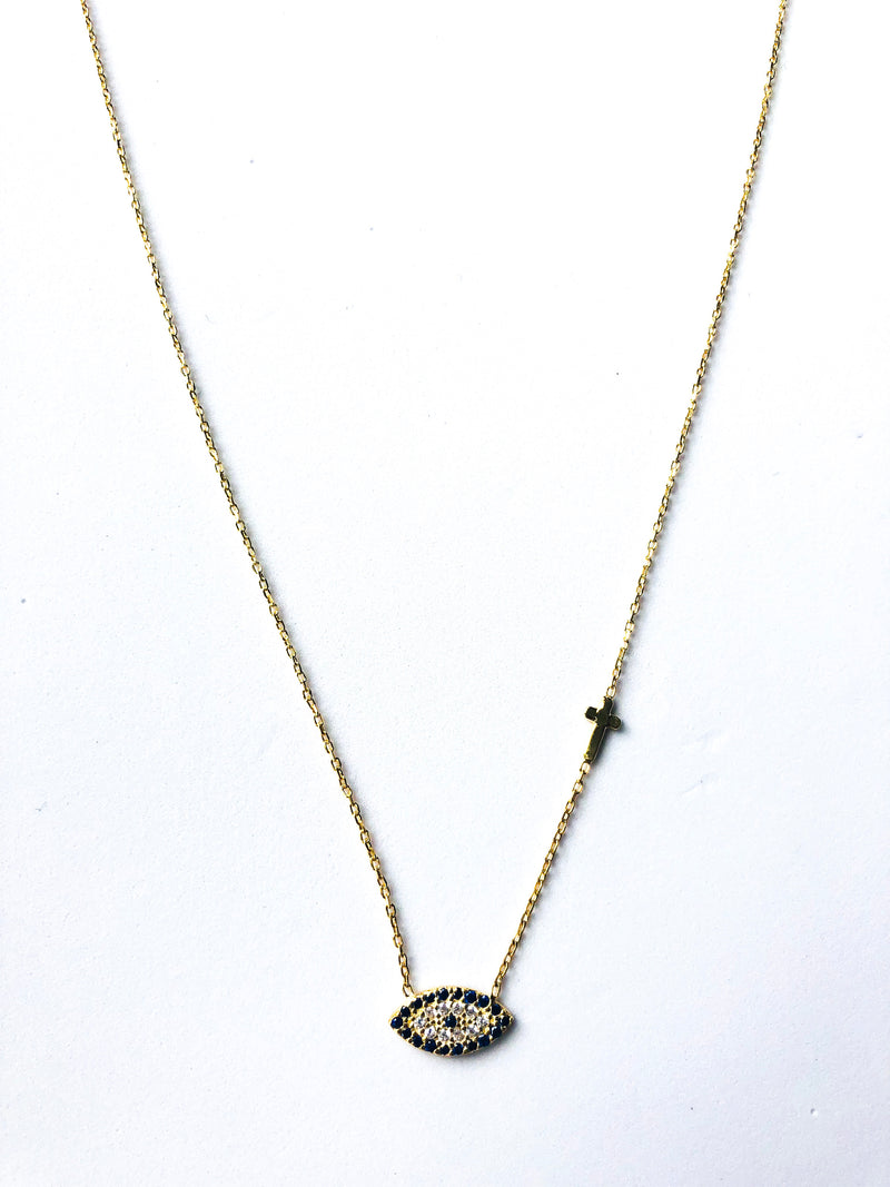 Oval Eye and Cross Necklace