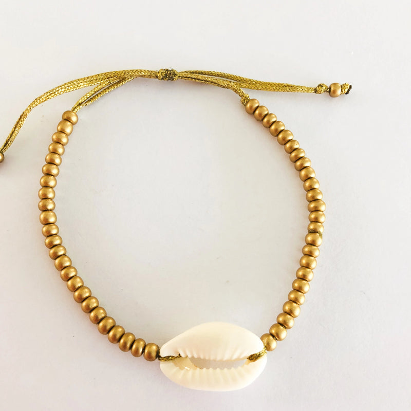 Gold beaded Shell Anklet