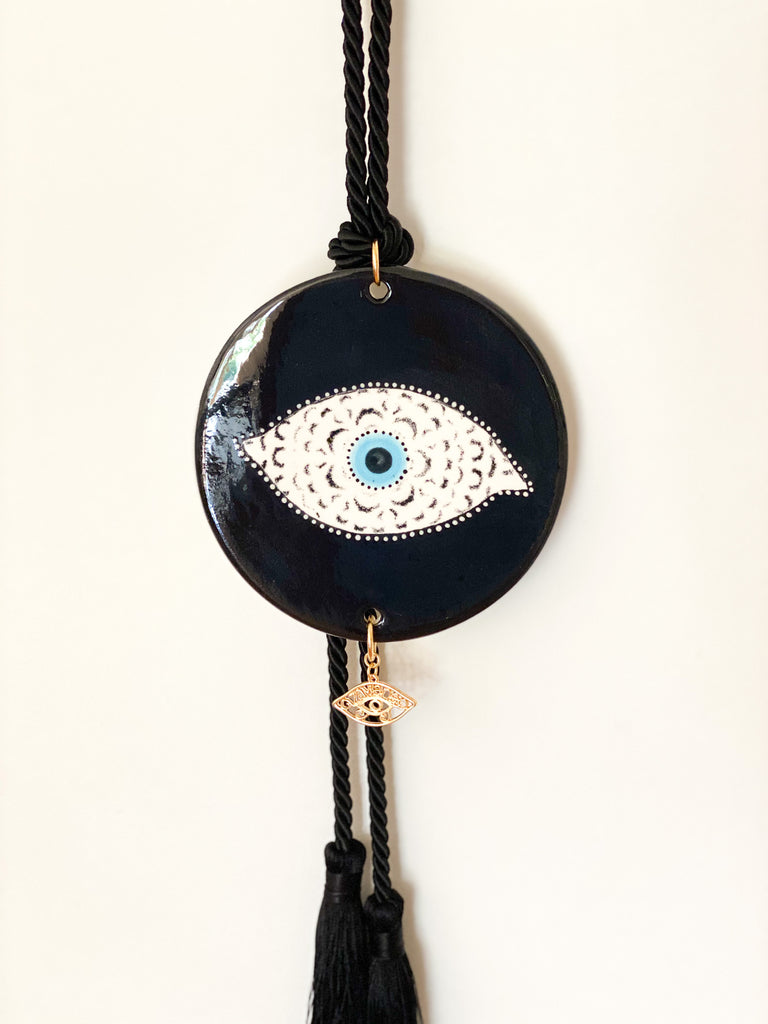 Round Eye Black Ceramic House Charm