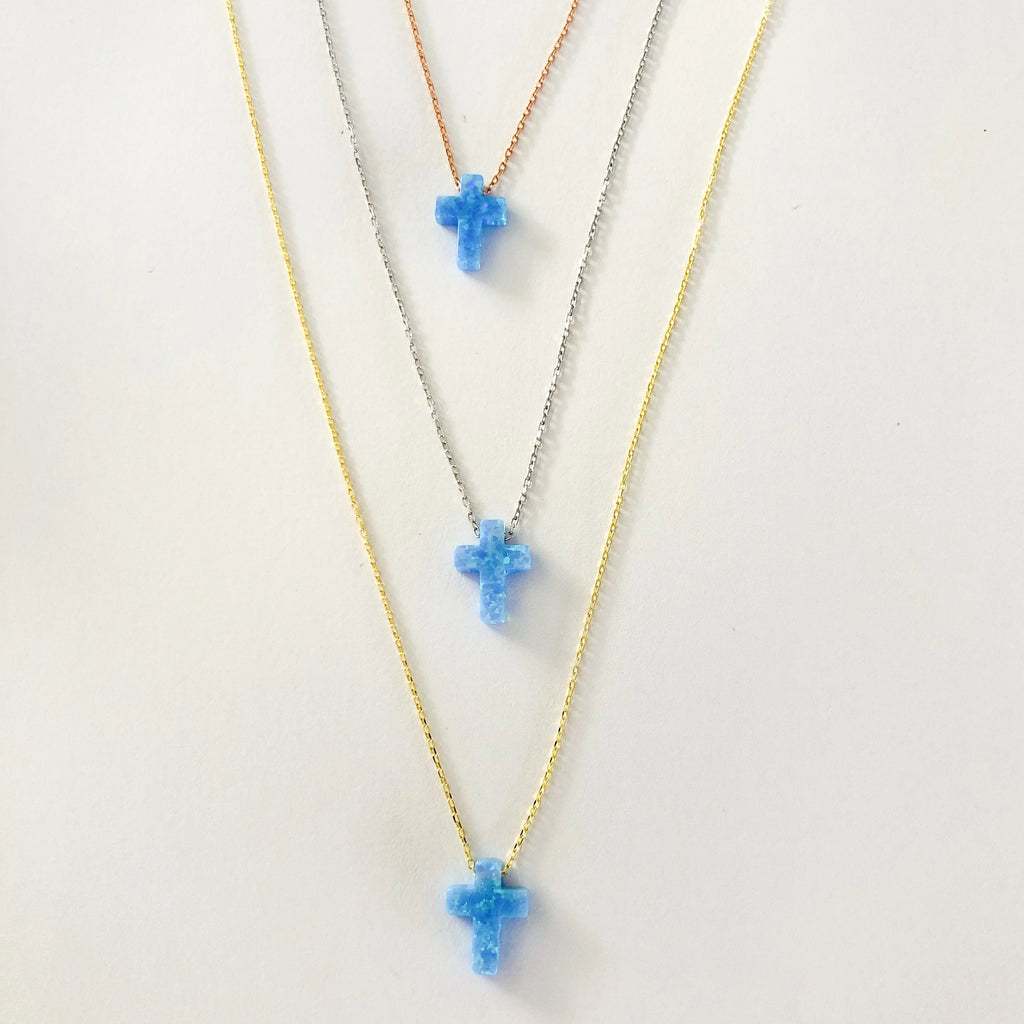 Opalite Cross Necklace - Blue