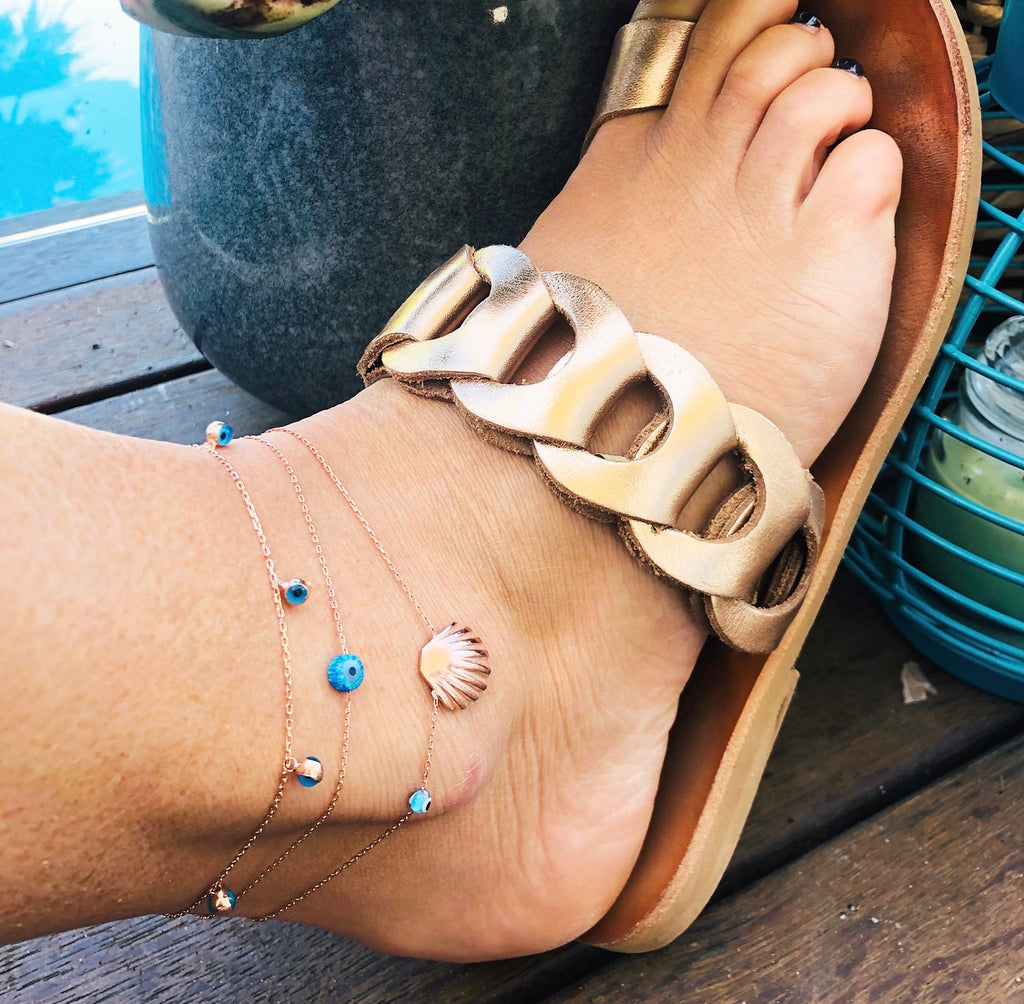 Opalite Mati Anklet - Stirling Silver
